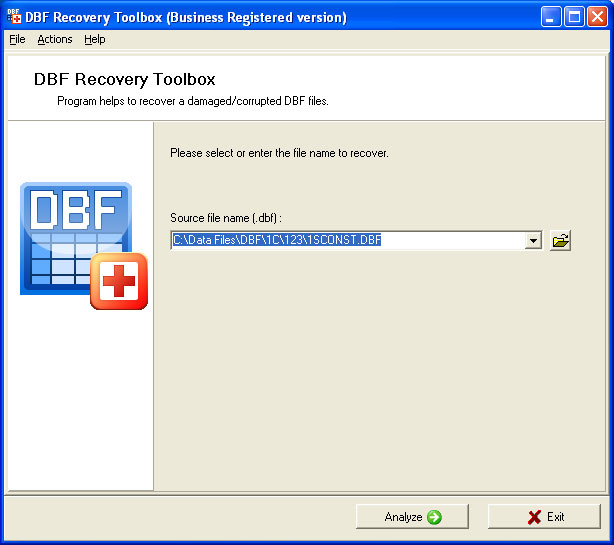 Provides DBF database format recovery