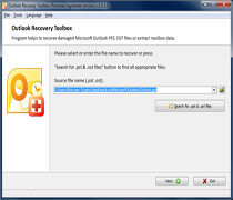 First page of Outlook Recovery Toolbox - Microsoft Outlook mail recovery