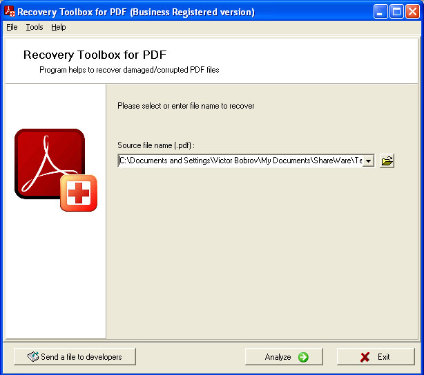 PDF Recovery Toolbox Screen shot