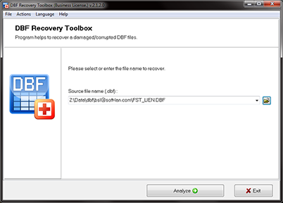 Recovery software for corrupted DBF files of FoxPro, Clipper, dBase